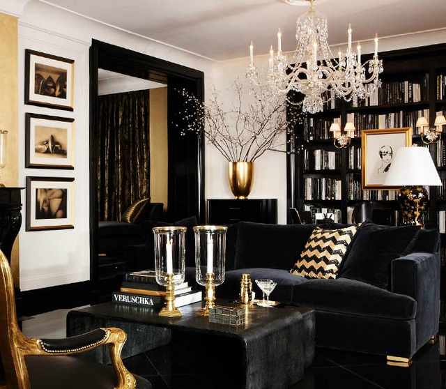Black-and-gold-living-room