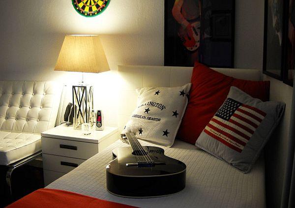dormitor adolescent alb si rosu